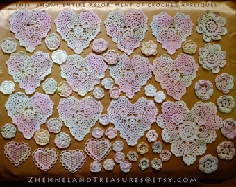 Vintage Crochet 58 Piece Assortment Hearts & Flowers of Soft Pastel Color Yarn | Use for Art, Crafts, Fashion, Home Decor, Creative Projects