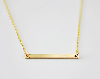 Gold Bar minimal necklace - horizontal bar - layering necklace - skinny bar - delicate gold necklace - gold filled chain - Gold bar