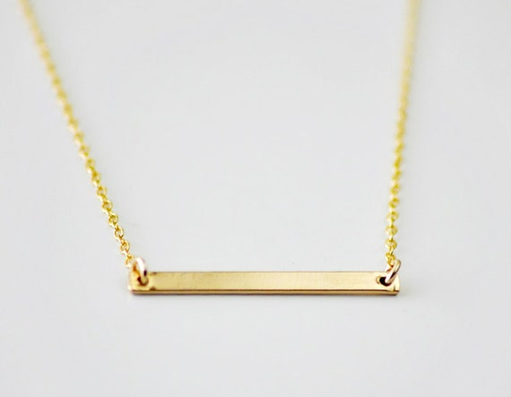 Gold Bar necklace - minimal modern line necklace - simple everyday jewelry - women