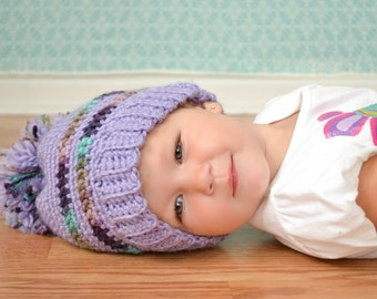 INSTANT DOWNLOAD Crochet Pattern for a Purple Pom Pom Hat for Toddlers and Children PDF Ski Hat Tossle Cap