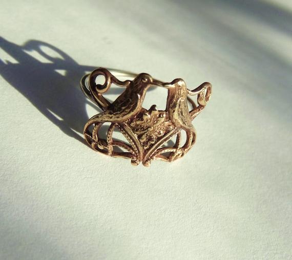 Lovebirds Ring -Romantic, Tattoo, Steampunk, Victorian Style Filigree