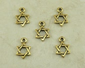 5 Small TierraCast Star of David Charms > Passover Hanukkah Jewish - 22kt Gold Plated Lead-Free pewter - I ship Internationally 2228