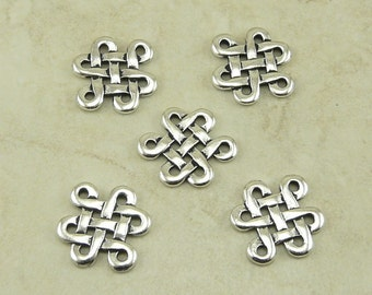 5 Large TierraCast Celtic Open Knot Eternity Link Charms > Irish St Patrick's - Silver Plated Lead Free Pewter - I ship internationally 3005