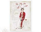 Jane Austen, Christmas card, woodland, dreaming, white Christmas, robin, red berries, antlers, vintage style, lady in red, snow, noel