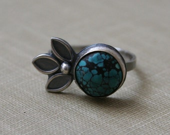 Turquoise Sterling Silver Petal Ring