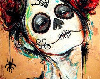 "Print 8x10"" - Day of the Dead Senorita 3 - portrait dia de los muertos mexican holiday death roses flowers dark art lowbrow spiders"