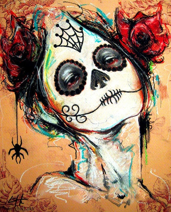 Christmas decor clipart - Print 8x10 Day Of The Dead Senorita 3 Portrait Dia