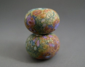 Naos Glass - Lily Pad Gardens Pair - Made To Order Handmade Lampwork Beads SRA Artisan Glass Beads Teal Rust Tones Lilac Lavender