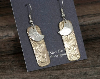 Dangly bronze and silver earrings