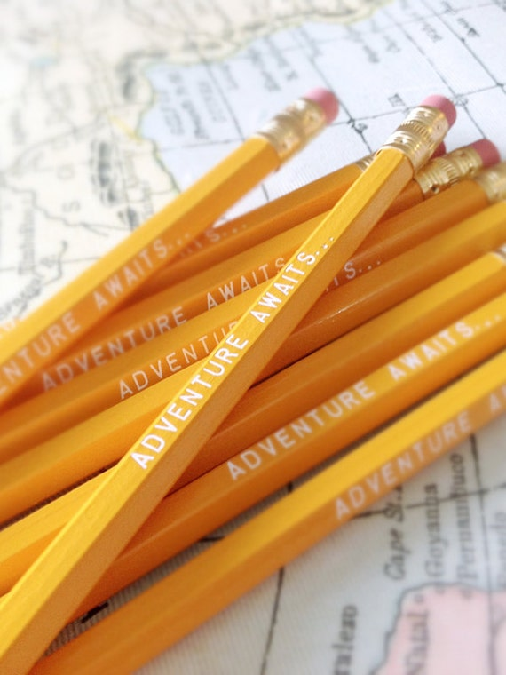 Adventure Awaits Pencil 6 Pack in yellow, Cool stocking gifts, funny stocking gift, yellow pencils, travel pencils, adventure inspired