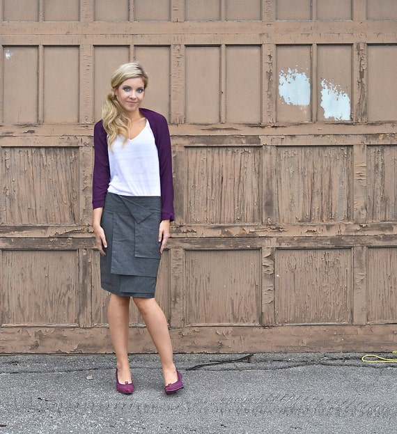 Panel skirt made from hemp and recycled polyester - custom made in a dark gray chambray