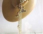 Frog In Yellow Garden Ear Cuff Flower Wild Crystals Pearls Chain Dangle Elegant Feminine Teardrops