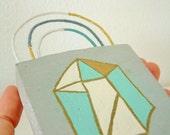 Modern Boho Art Piece Geometric Crystal Sculpture Modern Crystal Decor Object in Gold Silver White and Aqua