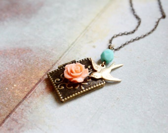 Vintage fairytale - shabby chic book locket - gift for her under 20usd
