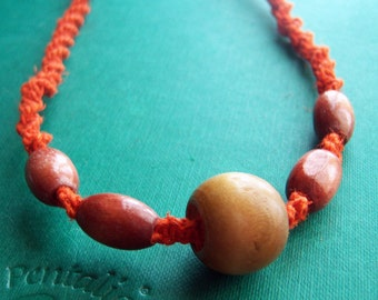 Orange Hemp Unisex Necklace with Wooden Beads
