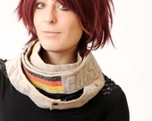 Womens Infinity scarf - Long linen Scarf - Repurposed real vintage French and German mail bags - Eco scarf
