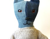 Denim Girl Bear With Inset Amber Eyes Wearing Knitted Oatmeal Dress