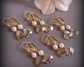 Bries Bridesmaids Earrings - Five (5) Earrings Sets - Customizable Swarovski Crystal and 14k Gold Filed, Bridal Jewelry - 2071