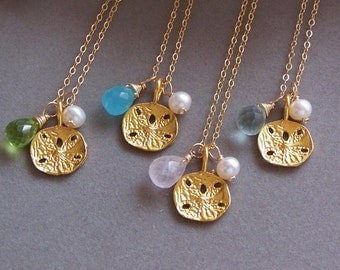 Bridesmaids Gifts - Vermeil Sand Dollar Monogram Necklace, Custom Stone, Ocean Themed Jewelry - 3041