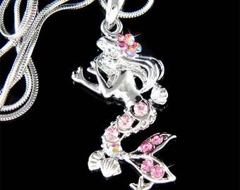 Swarovski Crystal Pink Sea Nymph Little Mermaid Ocean Princess Fish Marine Beach Wedding Bridesmaid Pendant Necklace Christmas Gift new