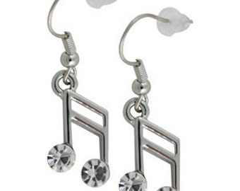 Swarovski Crystal Clear Semiquaver 16th Piano MUSIC NOTE Musical pierced Earrings Christmas Best Friend Gift New