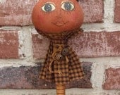 Primitive Halloween Pumpkin Art Doll Bobbin  Shaker