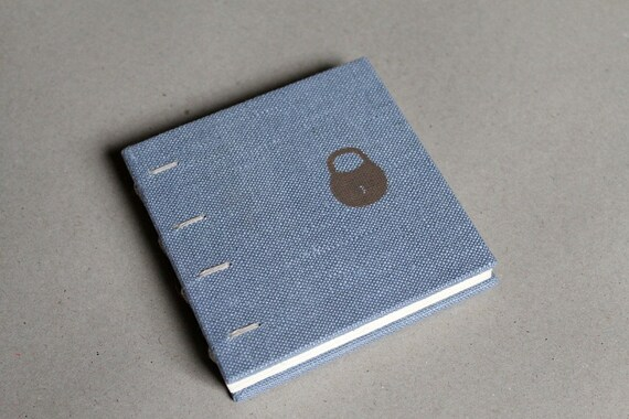 Sale - Small Light Blue Coptic Bound Notebook - I Need a Little Privacy