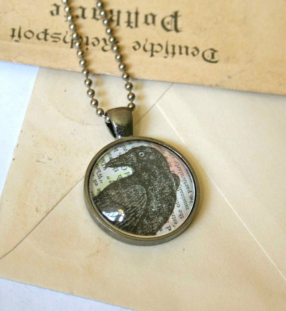 Crow Necklace - Raven Necklace - Edgar Allan Poe Raven Jewelry - Crow Jewelry - Goth Necklace