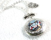Silver Locket, Day of the Dead Cat Art Charm Necklace, Vintage Inspired Beaded Jewelry, Cat Art Pendant, Original Art Print, Blue