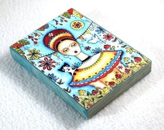 Print on Wood Block, ACEO ATC Frida Kahlo Art Print, Artist Trading Card, Frida and Cat Art, Watercolor, Blue