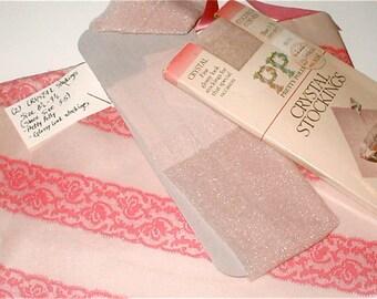 2 Pairs - 60s Wet Look Stockings - Crystal - Size 8 - 9  - Glossy Look Stockings - Pale Pink Hosiery in a Schiaparelli Bag