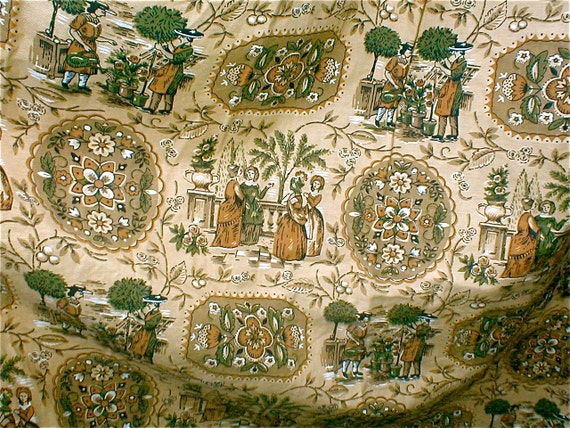 Early American Fabric Curtain Panel - Vintage 50s Cotton Cloth - Gardening Themed Print