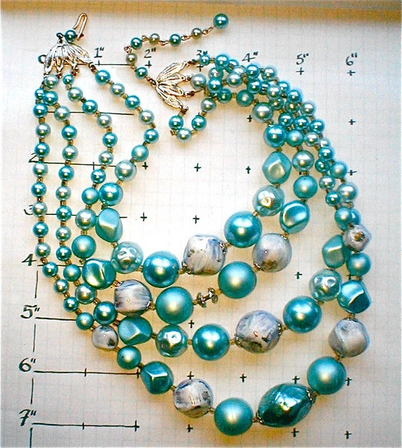 Vintage 50's - 4 Strand Blue Pearl Bauble Necklace - Fancy Cocktail Choker - Made in Japan