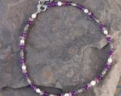 Amethyst and Pearl Childs Necklace RESERVED for Laura