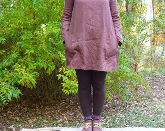 long sleeve smock tunic dress -- made to order in your choice of fabric