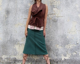 ORGANIC Cocoon Belted Crop Jacket (NC grown organic cotton knit) - organic jacket