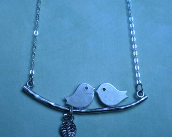 Silver necklace - birds sitting on a branch
