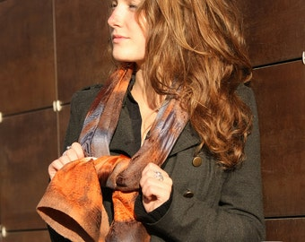 Hand dayed felted scarf - Orange, Grey, White colors mix - Wool and Silk - Hand dyed batik