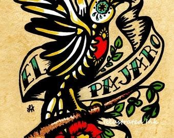 Day of the Dead Tattoo Skeleton Bird Art EL PAJARO Loteria Print 5 x 7, 8 x 10 or 11 x 14