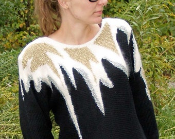 VINTAGE 80s Graphic SWEATER, Black GOLD and silver, dolmen sleeves and shoulder pads