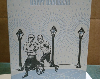 Skaters - letterpress holiday greeting