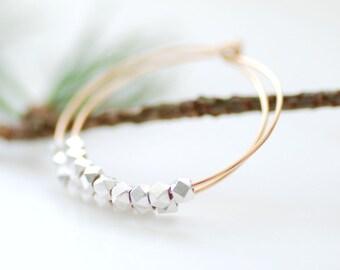 Gold Hoop Earrings, Gold Hoops, Everyday Hoops, Gold Jewelry, Holiday Jewelry, Mixed Metal Earrings, Simple Hoops - Silver and Gold