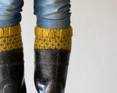 Boot cuffs , boot toppers in Yellow with grey  dots - homelab