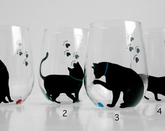 Cat and Yarn Stemless Wine Glasses - Set of 2 Hand Painted Black Cat Glasses, Cats, Cat Glasses, Cat Lover, Black Cats, Hand Painted Glass