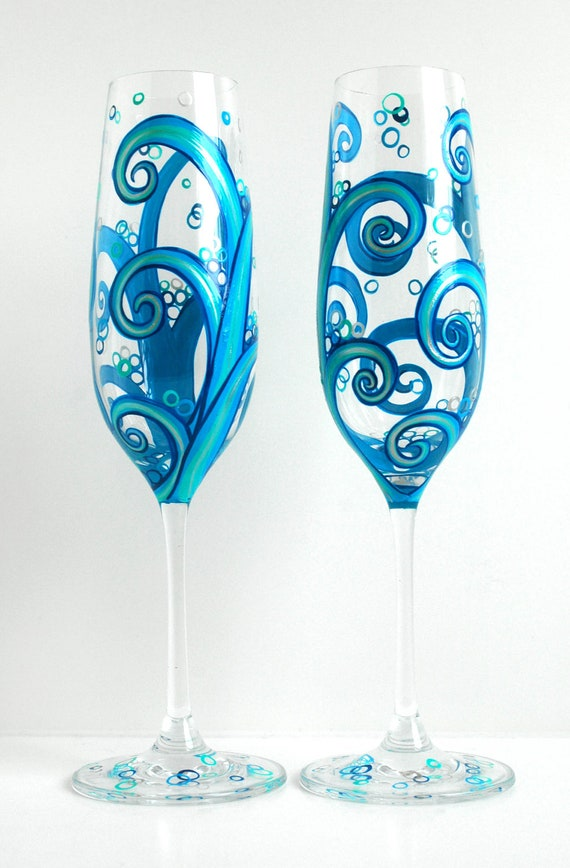 Ocean Waves Wedding Toasting Flutes -- Set of 2 Personalized Hand Painted Champagne Flutes -- Beach Wedding