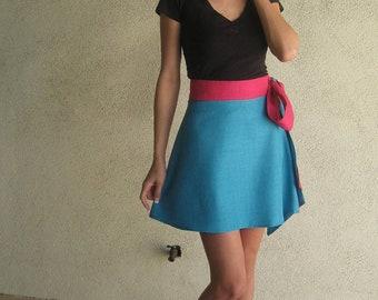 Color Block Fuchsia and Blue A-Line High Waisted Mini Skirt