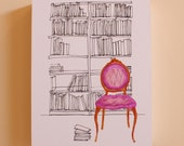 the Library - MOUNTED 8 x 10 Print - Nursery Decor - Pink - Books - Shabby Chic