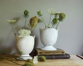 Vintage Vase Milk Glass Vases Pair of Shell Vases Cottage Chic White Hollywood Regency