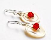 Sale - Button Earrings - Shell Earrings - Red Ruby - Mother of Pearl Earrings - Serendipity