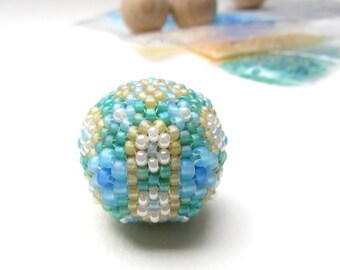 Beaded Bead Kit 25mm Focal, Aqua, Sky Blue, Sand and Pearl White